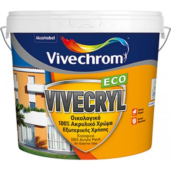 Vivecryl Eco Ακρυλικό Χρώμα Λευκό Εξωτερικού Χώρου