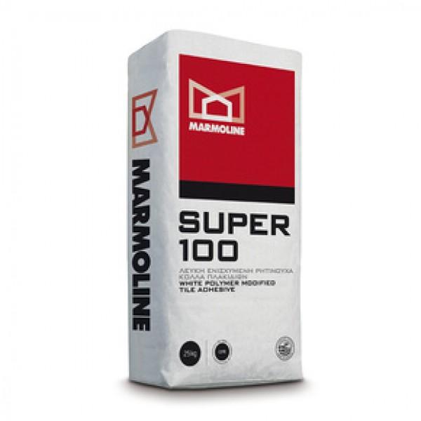 Super 100 Λευκή Ενισχυµένη Ρητινούχα Κόλλα Πλακιδίων (C2TE)